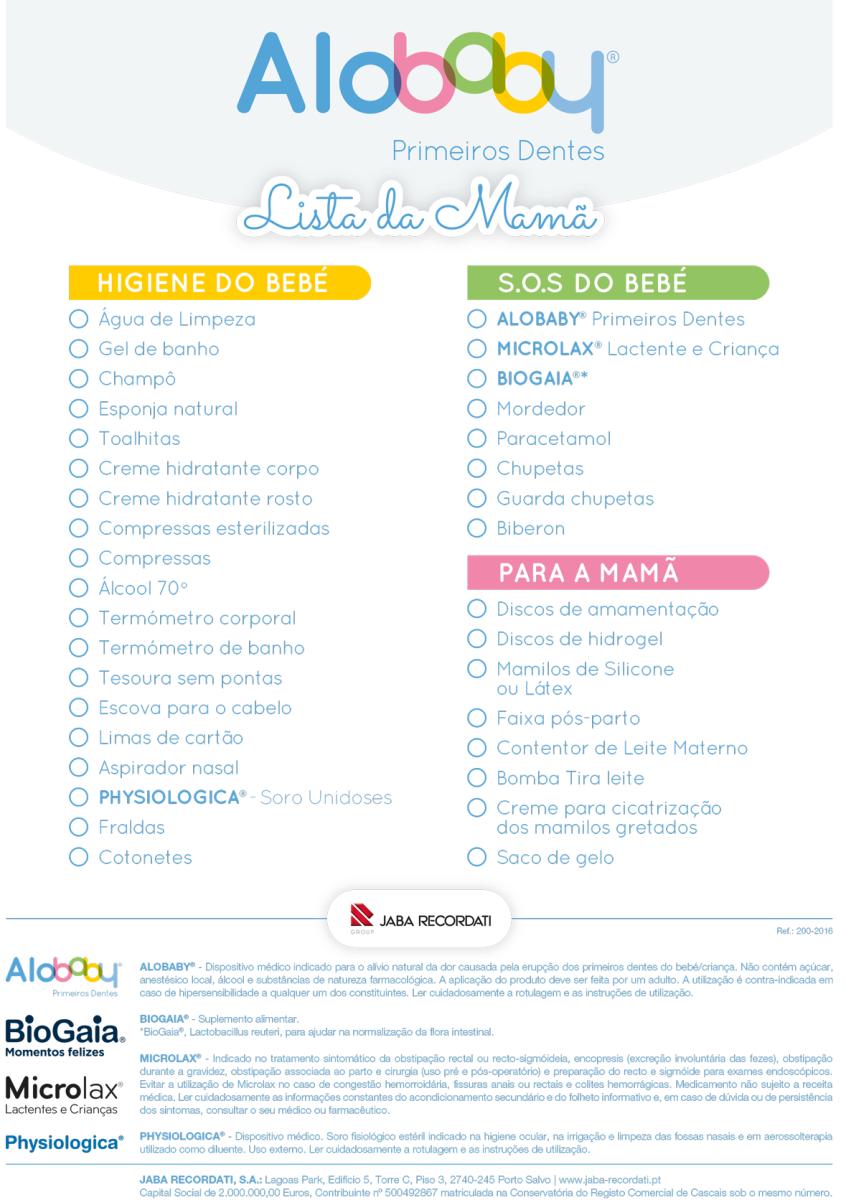 Lista da Mamã | Higiene do Bebé | SOS